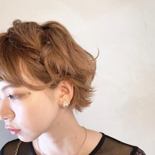 ガーリー ヘアアレンジ ショート 結婚式ヘアアレンジ ヘアスタイルや髪型の写真・画像