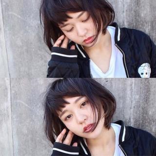 暗髪 前髪あり ストリート 冬 ヘアスタイルや髪型の写真・画像