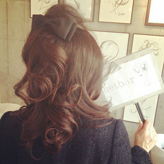 大人かわいい ヘアアレンジ セミロング ヘアアクセ ヘアスタイルや髪型の写真・画像