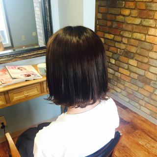 ストリート ボブ 黒髪 切りっぱなし ヘアスタイルや髪型の写真・画像