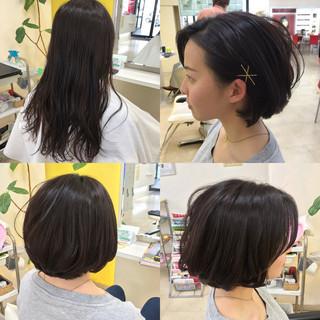 ボブ ナチュラル ヘアアクセ 簡単ヘアアレンジ ヘアスタイルや髪型の写真・画像 ヘアスタイルや髪型の写真・画像