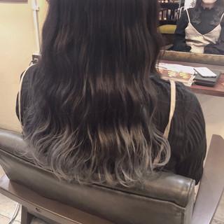 グラデーションカラー ストリート グレー グレージュ ヘアスタイルや髪型の写真・画像