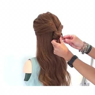 簡単ヘアアレンジ ヘアアレンジ 結婚式 フェミニン ヘアスタイルや髪型の写真・画像