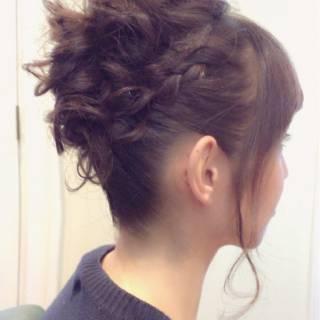 ヘアアレンジ セミロング アップスタイル パーティ ヘアスタイルや髪型の写真・画像