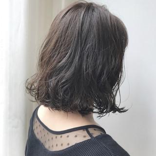 ボブ デジタルパーマ ガーリー アッシュグレージュ ヘアスタイルや髪型の写真・画像