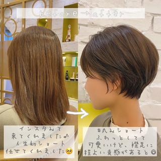 ショートヘア ナチュラル 大人かわいい ショート ヘアスタイルや髪型の写真・画像