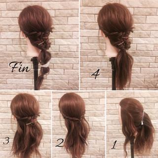 ミディアム 春 ガーリー 簡単ヘアアレンジ ヘアスタイルや髪型の写真・画像