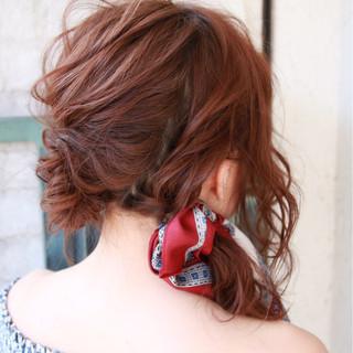 ゆるふわ ヘアアクセ ガーリー 編み込み ヘアスタイルや髪型の写真・画像