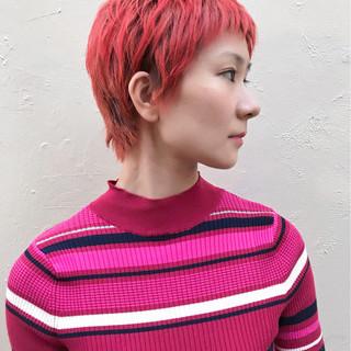 ストリート ラズベリーピンク レッド ベリーピンク ヘアスタイルや髪型の写真・画像