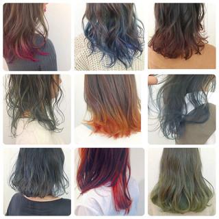 ストリート ピンク インナーカラー ミディアム ヘアスタイルや髪型の写真・画像