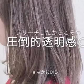 ミディアム アッシュベージュ ブリーチ ベージュ ヘアスタイルや髪型の写真・画像