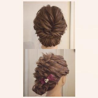 お呼ばれヘア 成人式 セミロング シニヨン ヘアスタイルや髪型の写真・画像