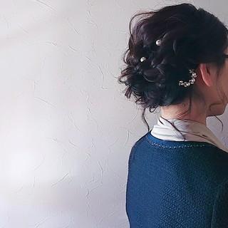 フェミニン ヘアアレンジ 結婚式 後れ毛 ヘアスタイルや髪型の写真・画像