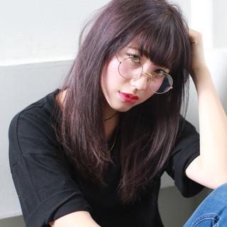 パープル ナチュラル 暗髪 ブルーアッシュ ヘアスタイルや髪型の写真・画像 ヘアスタイルや髪型の写真・画像