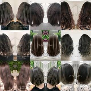 ロング シルバーアッシュ グラデーションカラー 外国人風カラー ヘアスタイルや髪型の写真・画像