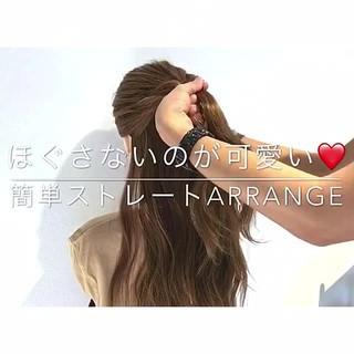簡単ヘアアレンジ アウトドア エレガント デート ヘアスタイルや髪型の写真・画像