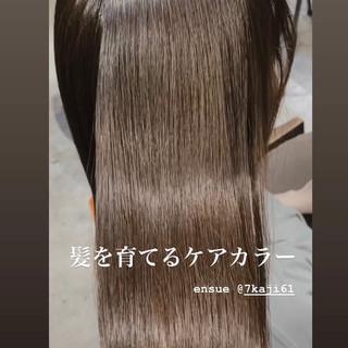 艶髪 ミルクティーグレージュ ミルクティーベージュ セミロング ヘアスタイルや髪型の写真・画像
