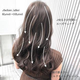 アッシュグレージュ グレージュ ナチュラル アッシュ ヘアスタイルや髪型の写真・画像