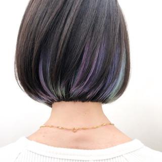 ハイトーンカラー ミニボブ モード インナーカラー ヘアスタイルや髪型の写真・画像