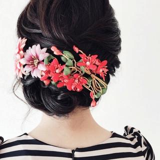 お呼ばれ 結婚式 エレガント 振袖ヘア ヘアスタイルや髪型の写真・画像