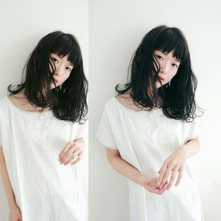 小顔 セミロング フェミニン デート ヘアスタイルや髪型の写真・画像