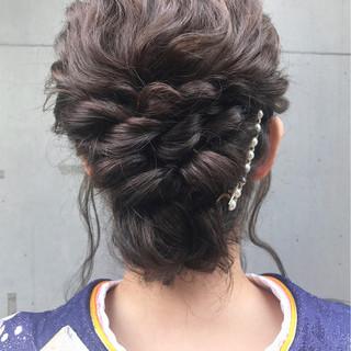 成人式 ロング ヘアアレンジ 編み込み ヘアスタイルや髪型の写真・画像