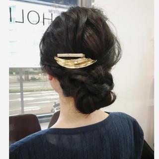 ダークトーン ロング 結婚式 簡単ヘアアレンジ ヘアスタイルや髪型の写真・画像 ヘアスタイルや髪型の写真・画像