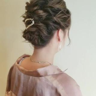 結婚式ヘアアレンジ フェミニン ボブ 簡単ヘアアレンジ ヘアスタイルや髪型の写真・画像
