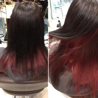 レッド ダークアッシュ セミロング 暗髪 ヘアスタイルや髪型の写真・画像 ヘアスタイルや髪型の写真・画像