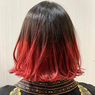 レッドブラウン インナーカラーレッド ナチュラル ボブ ヘアスタイルや髪型の写真・画像