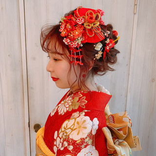 ヘアアレンジ ガーリー ロング 結婚式髪型 ヘアスタイルや髪型の写真・画像
