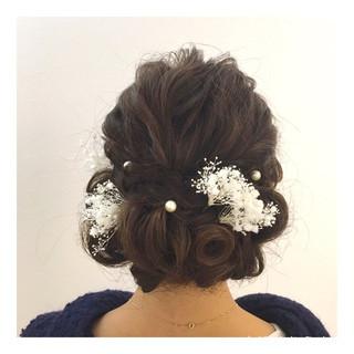 結婚式 編み込み デート ミディアム ヘアスタイルや髪型の写真・画像
