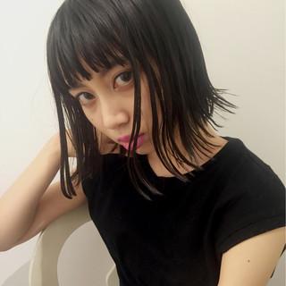 暗髪 ナチュラル ボブ ブルーブラック ヘアスタイルや髪型の写真・画像