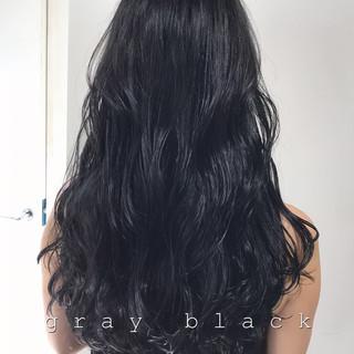 ネイビー ブルーブラック グレージュ 暗髪 ヘアスタイルや髪型の写真・画像