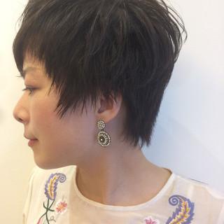 外国人風カラー ショート 大人女子 パーマ ヘアスタイルや髪型の写真・画像
