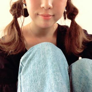 ツインテール ミディアム くるりんぱ 簡単ヘアアレンジ ヘアスタイルや髪型の写真・画像 ヘアスタイルや髪型の写真・画像