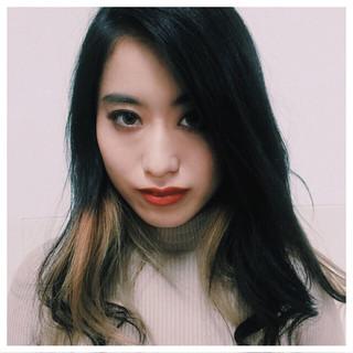 インナーカラー 外国人風 ロング モード ヘアスタイルや髪型の写真・画像