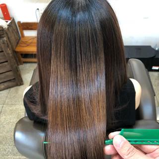 ツヤツヤ 小顔ヘア ナチュラル ロング ヘアスタイルや髪型の写真・画像