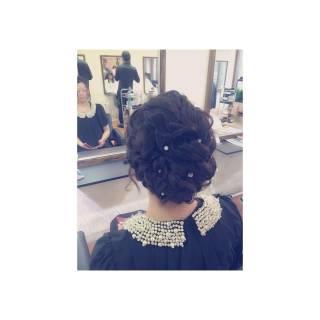 まとめ髪 編み込み 波ウェーブ ラフ ヘアスタイルや髪型の写真・画像