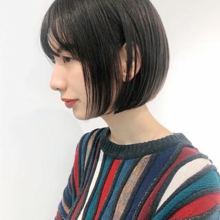 前髪あり ナチュラル デート ボブ ヘアスタイルや髪型の写真・画像