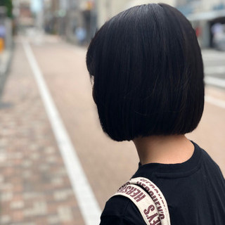 暗髪 イルミナカラー ナチュラル ボブ ヘアスタイルや髪型の写真・画像