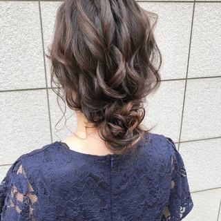 ゆるナチュラル セミロング 結婚式髪型 ヘアアレンジ ヘアスタイルや髪型の写真・画像