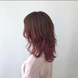 ピンク 暖色 ナチュラル ロング ヘアスタイルや髪型の写真・画像