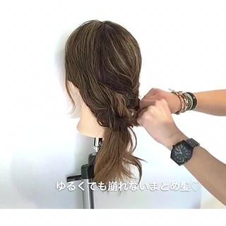 簡単ヘアアレンジ ルーズ フェミニン デート ヘアスタイルや髪型の写真・画像