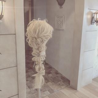 ゆるふわ ロング 編み込み フェミニン ヘアスタイルや髪型の写真・画像