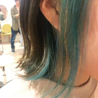 インナーカラー ボブ ブリーチ インナーグリーン ヘアスタイルや髪型の写真・画像 ヘアスタイルや髪型の写真・画像
