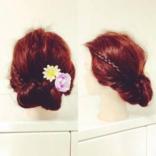 セルフヘアアレンジ 三つ編み ヘアアレンジ 簡単ヘアアレンジ ヘアスタイルや髪型の写真・画像 ヘアスタイルや髪型の写真・画像