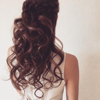 ロング 結婚式 ハーフアップ フェミニン ヘアスタイルや髪型の写真・画像 ヘアスタイルや髪型の写真・画像