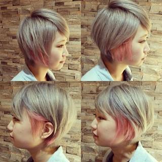 ストリート ブリーチ ショート ダブルカラー ヘアスタイルや髪型の写真・画像