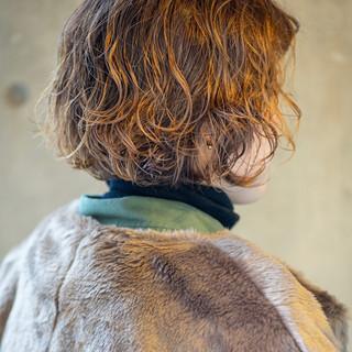 デジタルパーマ ボブ 切りっぱなしボブ ショートボブ ヘアスタイルや髪型の写真・画像